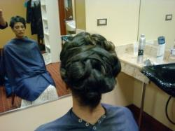 Updo for long thick hair by Bridal Hairstylist